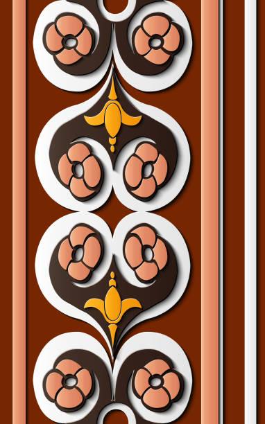 nahtlose relief skulptur dekoration retro-muster spirale kurve runde querrahmen ranke blume - gartenskulpturkunst stock-grafiken, -clipart, -cartoons und -symbole