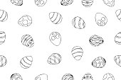 Vector illustration of seamless repeat pattern with Easter eggs, black and white Easter design with hand drawn line art eggs, Easter holiday surface pattern design