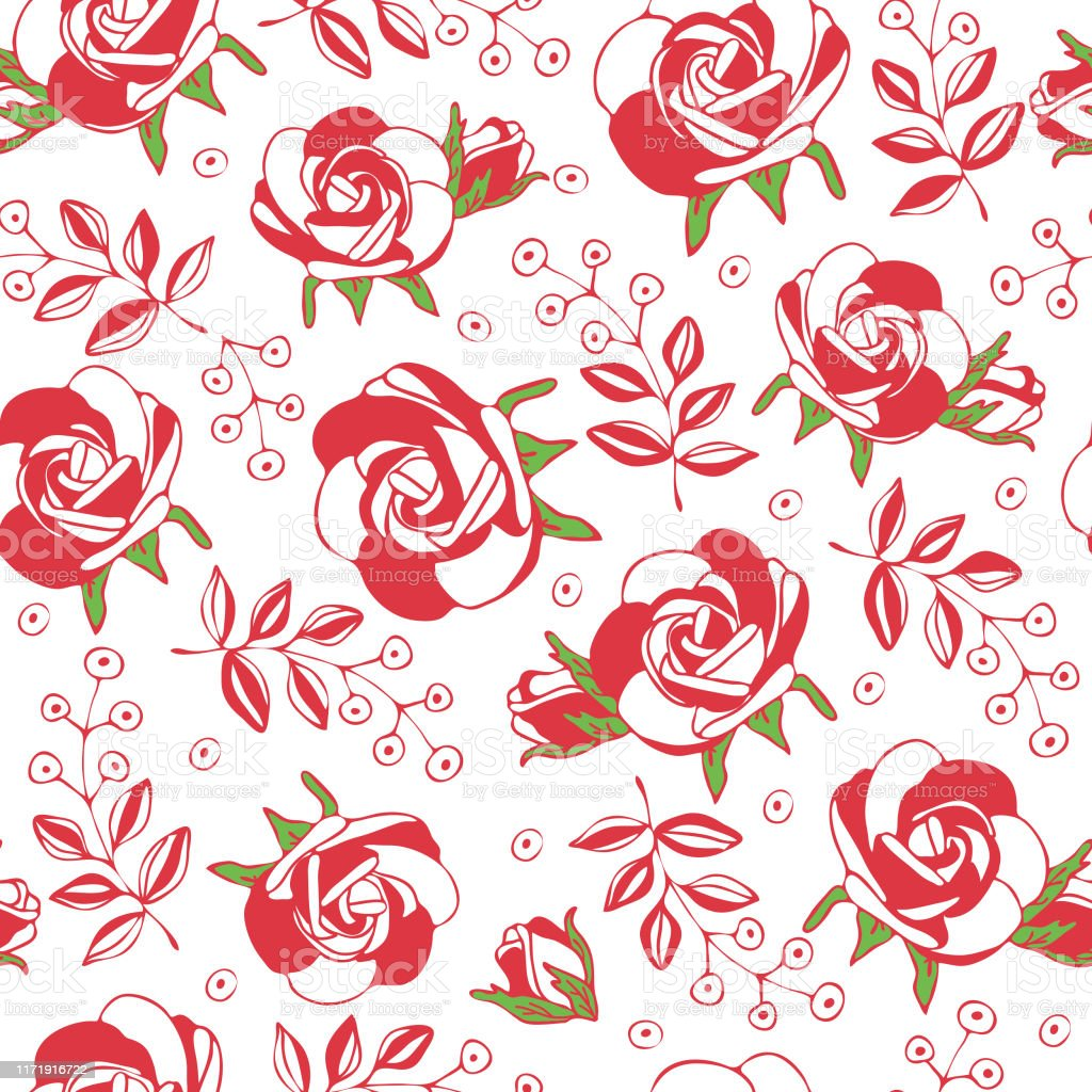 Seamless Repeat Vector Pattern With Pink Roses Romantic Floral