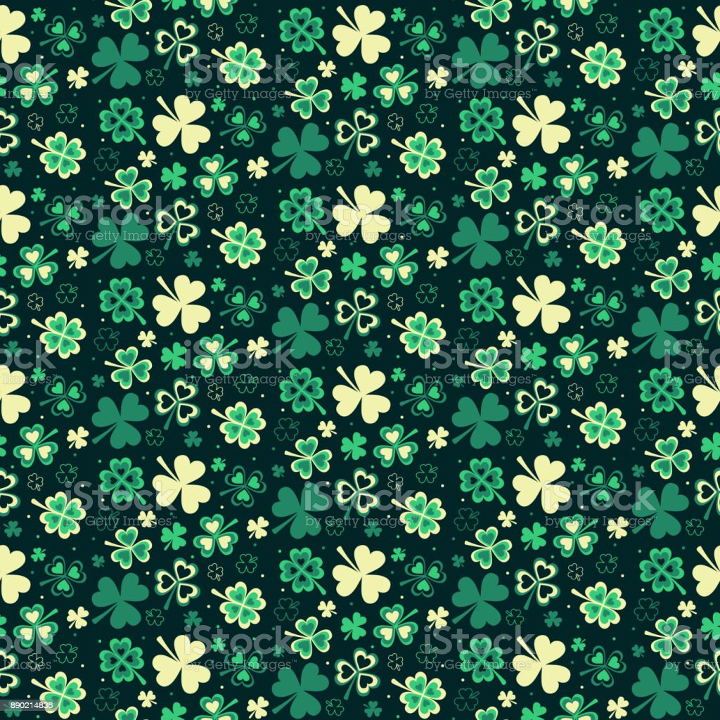 Seamless repeating pattern from clover to St. Patrick's Day vector art illustration