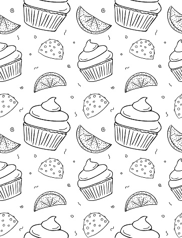 Seamless repeating pattern of cupcake, chocolate candy with nuts and candied fruit. Hand drawn contour sketch.