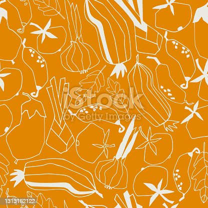 istock Seamless repeating pattern with vegetables. Abstract trendy illustrations on beige background 1313162122