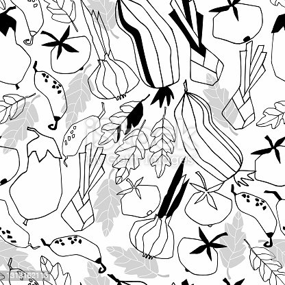 istock Seamless repeating pattern with vegetables. Geometric black-and-white trendy illustrations on white background 1313162113