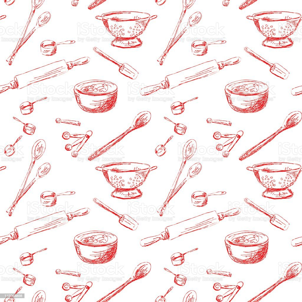 Seamless Repeating Retro Kitchen Gadgets Pattern Red Lineart on White vector art illustration