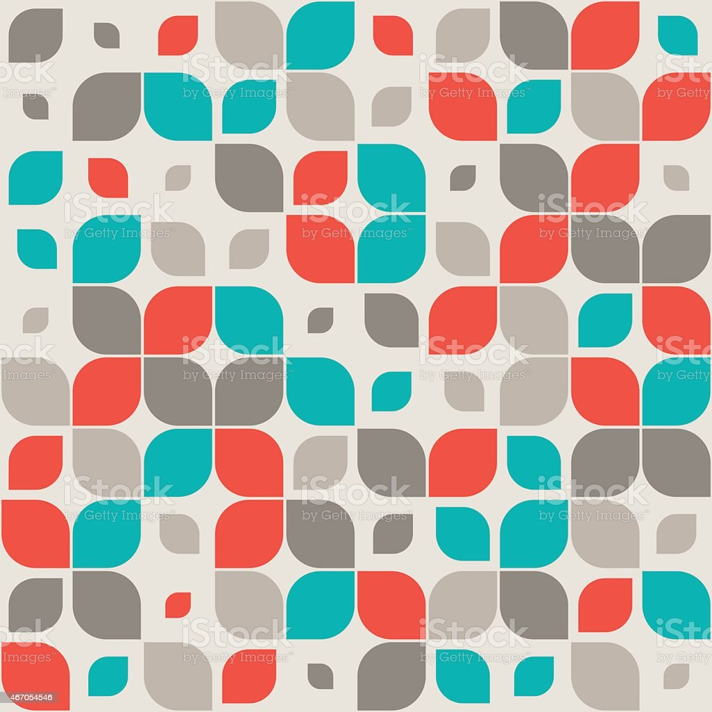 Seamless retro abstract geometric pattern vector art illustration