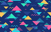 Retro abstract triangles geometric shapes bright vibrant color background.