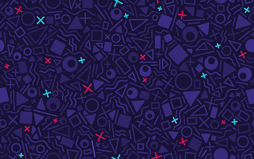 Retro seamless shapes and lines abstract pattern background. Repeats side to side and top to bottom.