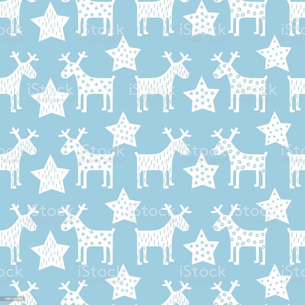 Seamless retro Christmas pattern - Xmas reindeer and night stars