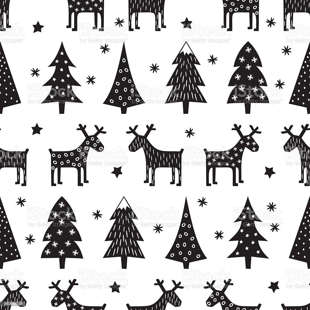 Seamless retro Christmas pattern - Xmas trees, reindeer, stars, snowflakes vector art illustration