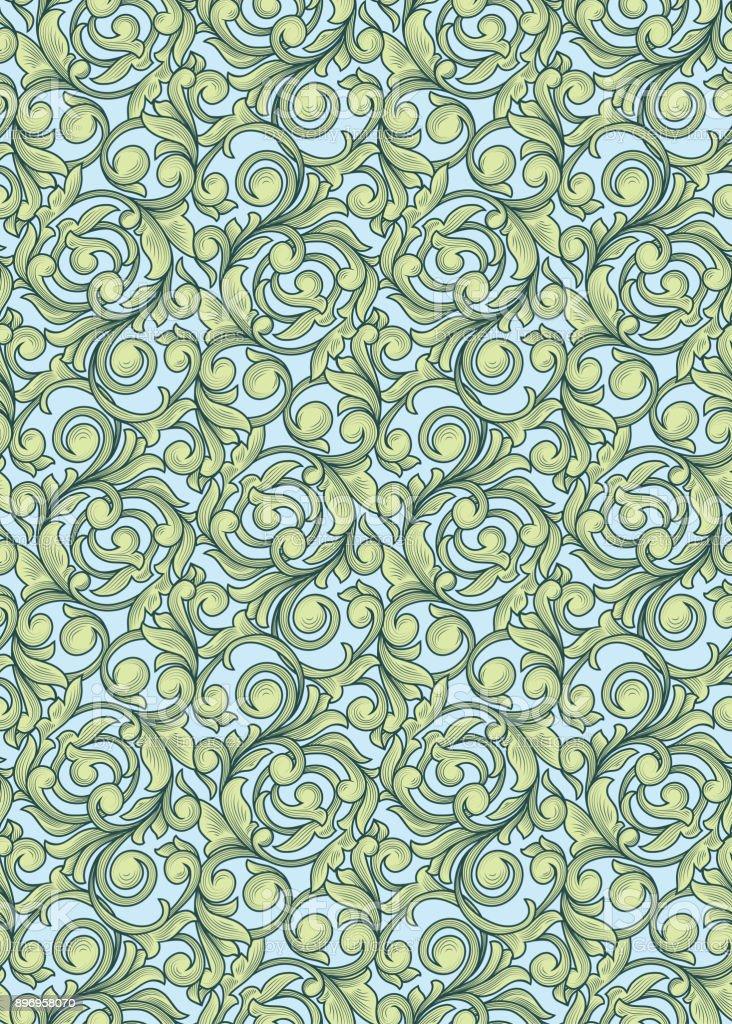 Seamless retro decorative pattern vector art illustration