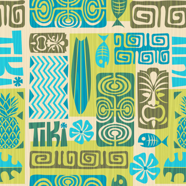 Seamless retro exotic tiki pattern. Vector illustration. Seamless retro exotic tiki pattern. Vector illustration. hawaiian culture stock illustrations