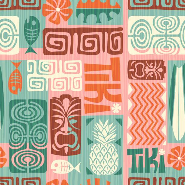 bildbanksillustrationer, clip art samt tecknat material och ikoner med sömlös retro exotiska tiki mönster. vektorillustration. - delstat hawaii