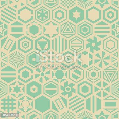 Seamless retro geometric pattern of hexagonal forms. Vector ornament.