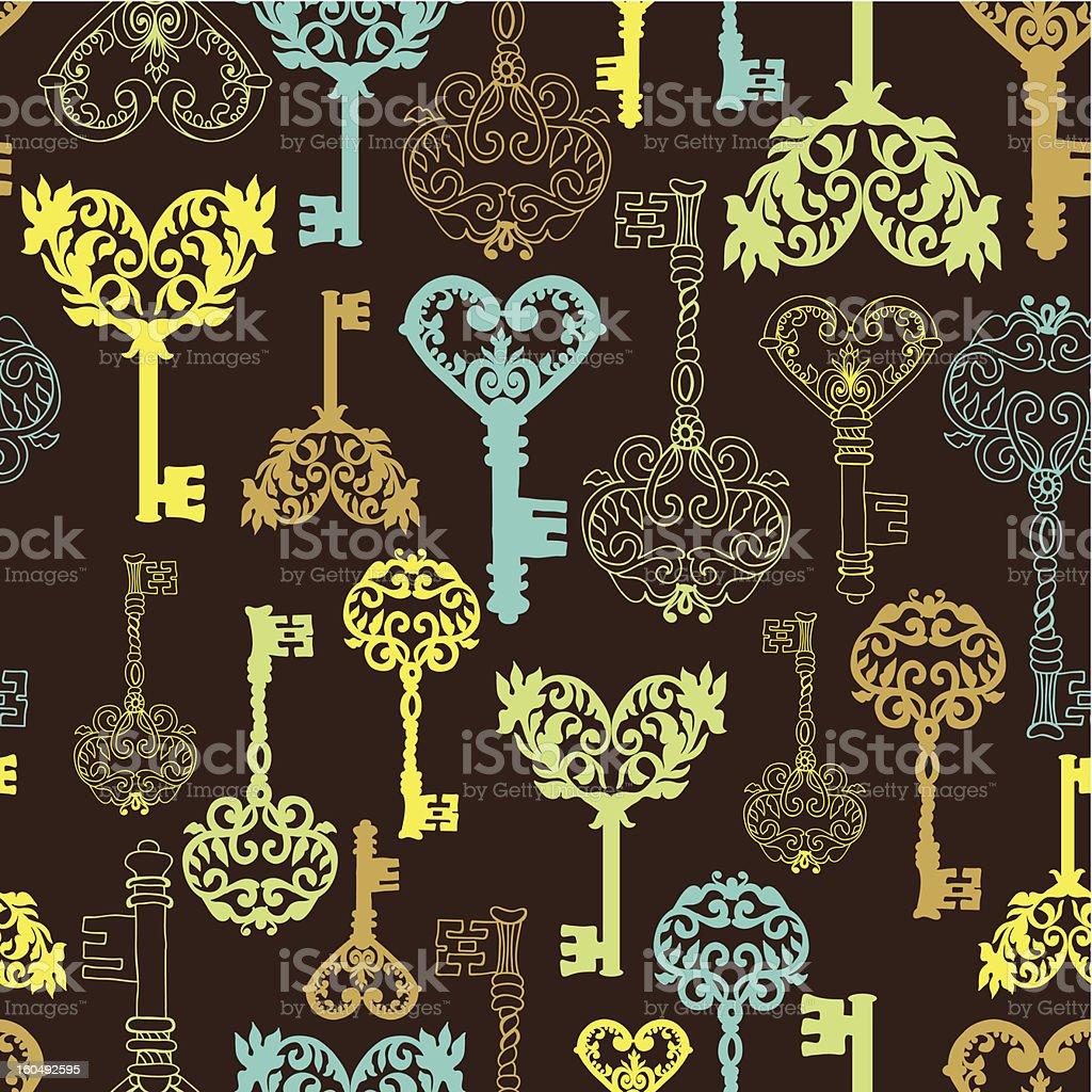 Seamless retro Keys Background royalty-free stock vector art