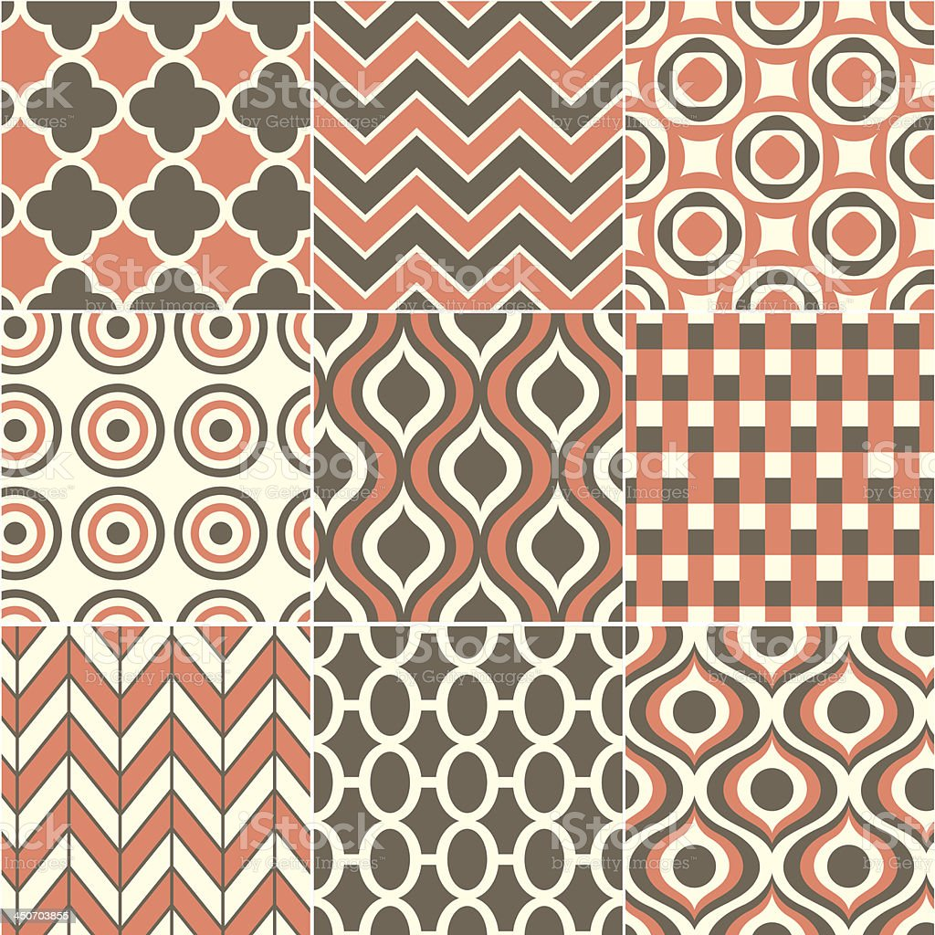 seamless retro orange pattern royalty-free stock vector art