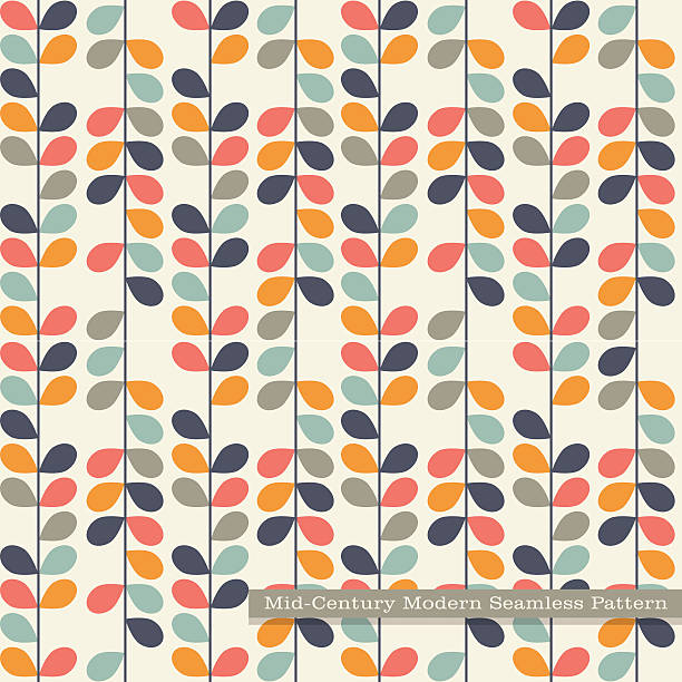 seamless retro pattern abstract vines and leaves in vintage colors. - 1960s style stock illustrations, clip art, cartoons, & icons