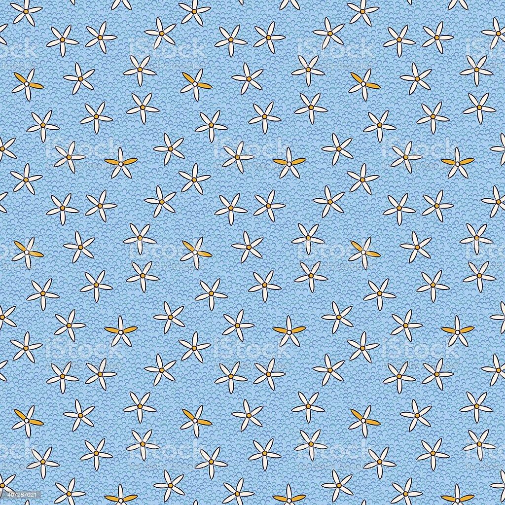 Seamless Pattern Retrò Di Piccoli Fiori Su Sfondo Blu Immagini