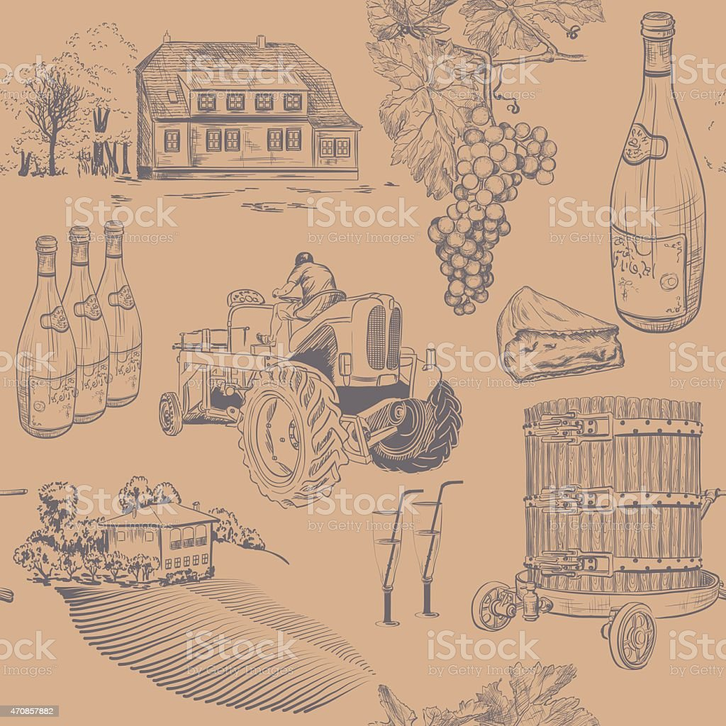 Seamless retro pattern of wine making vector art illustration