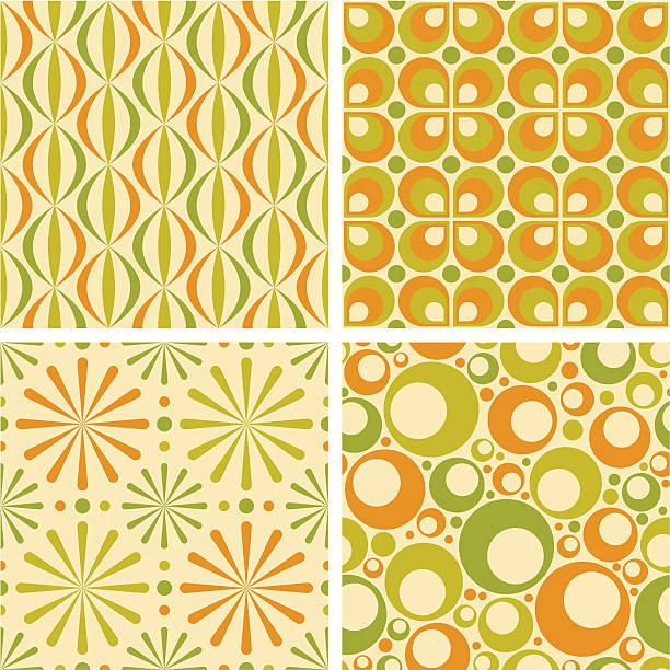 seamless retro patterns - 1960s style stock illustrations, clip art, cartoons, & icons
