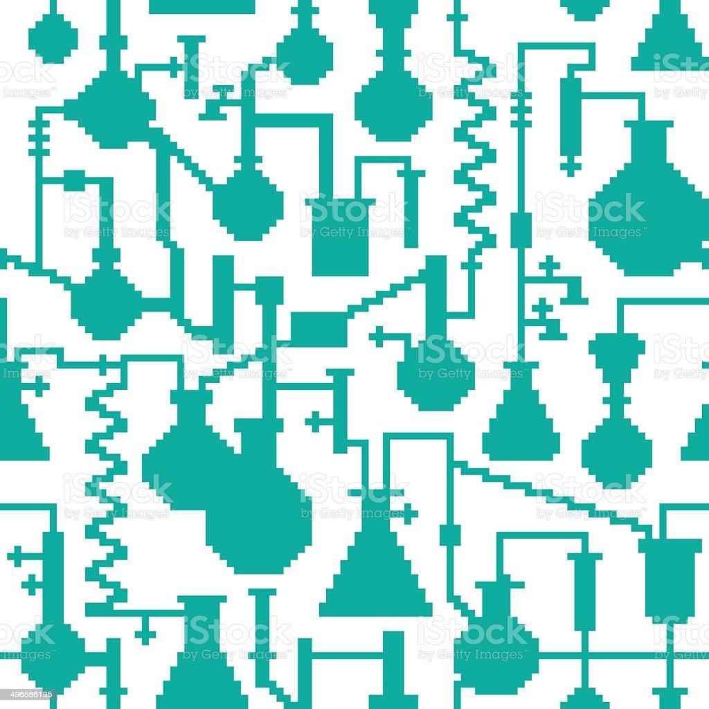 Seamless retro pixel game science lab pattern vector art illustration