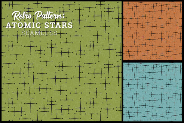 seamless retro star pattern in 3 colors - 1960s style stock illustrations, clip art, cartoons, & icons