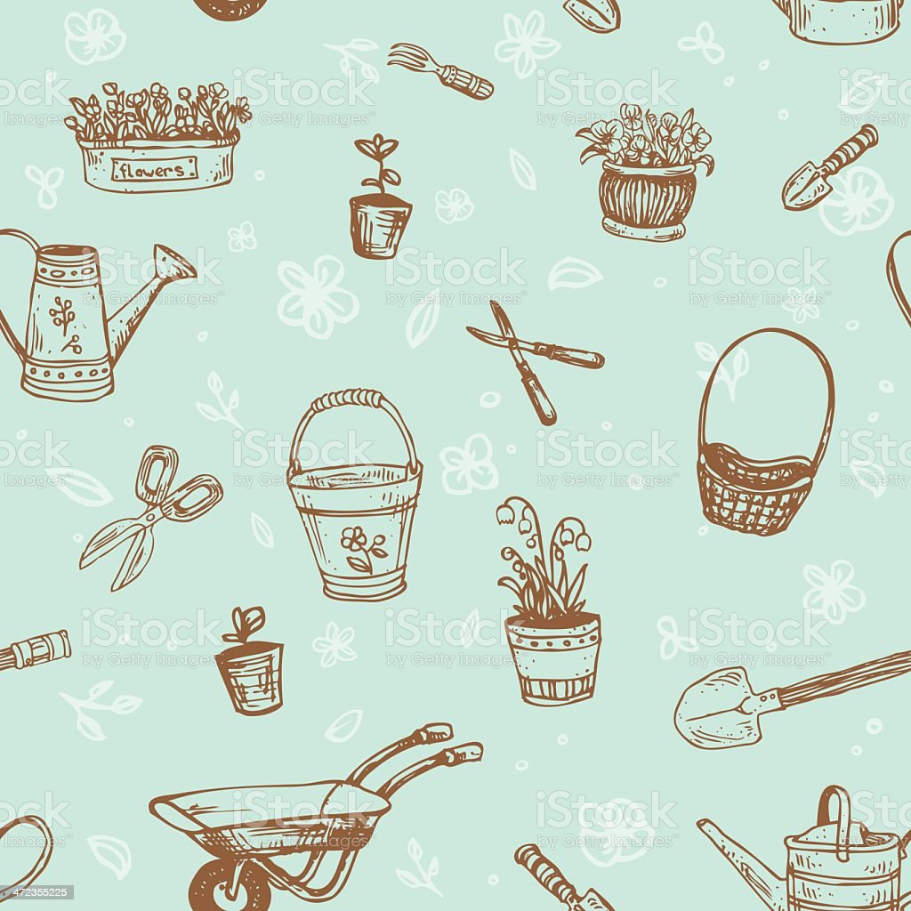 Seamless retro texture with flowers and garden tools vector art illustration