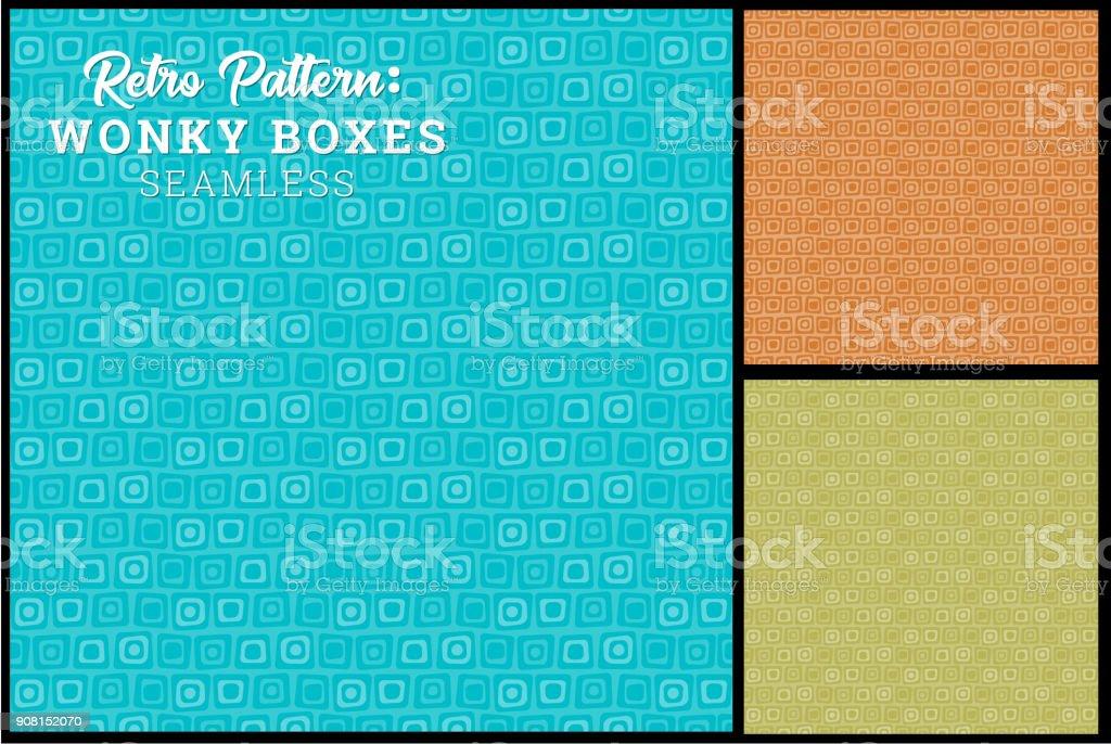 Seamless Retro Wonky Box Pattern vector art illustration