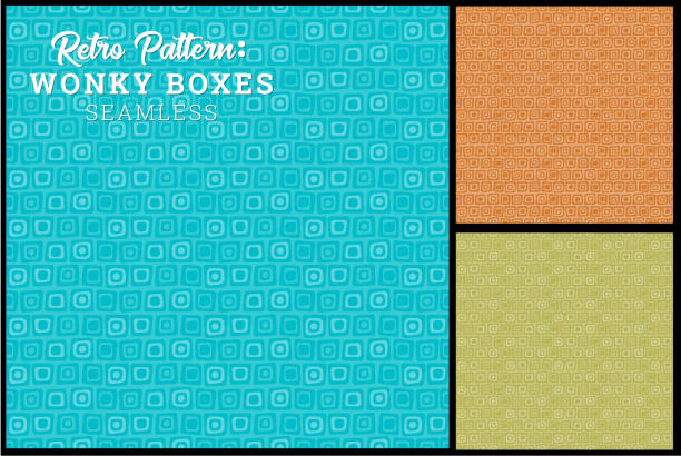 seamless retro wonky box pattern - 1960s style stock illustrations, clip art, cartoons, & icons
