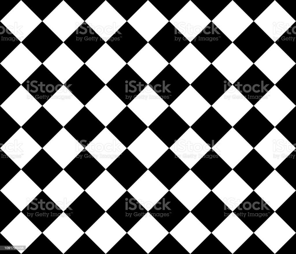 シームレスな菱形の背景パターン 黒と白の壁紙 ベクター イラスト