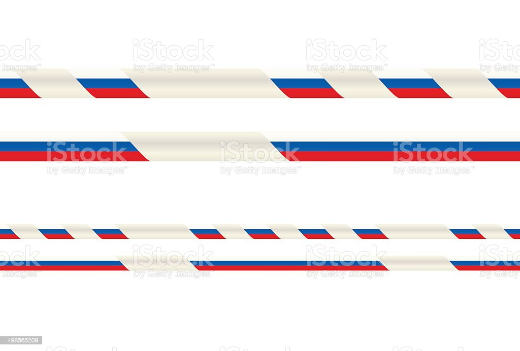 Seamless ribbon with Russian flag tricolor vector art illustration