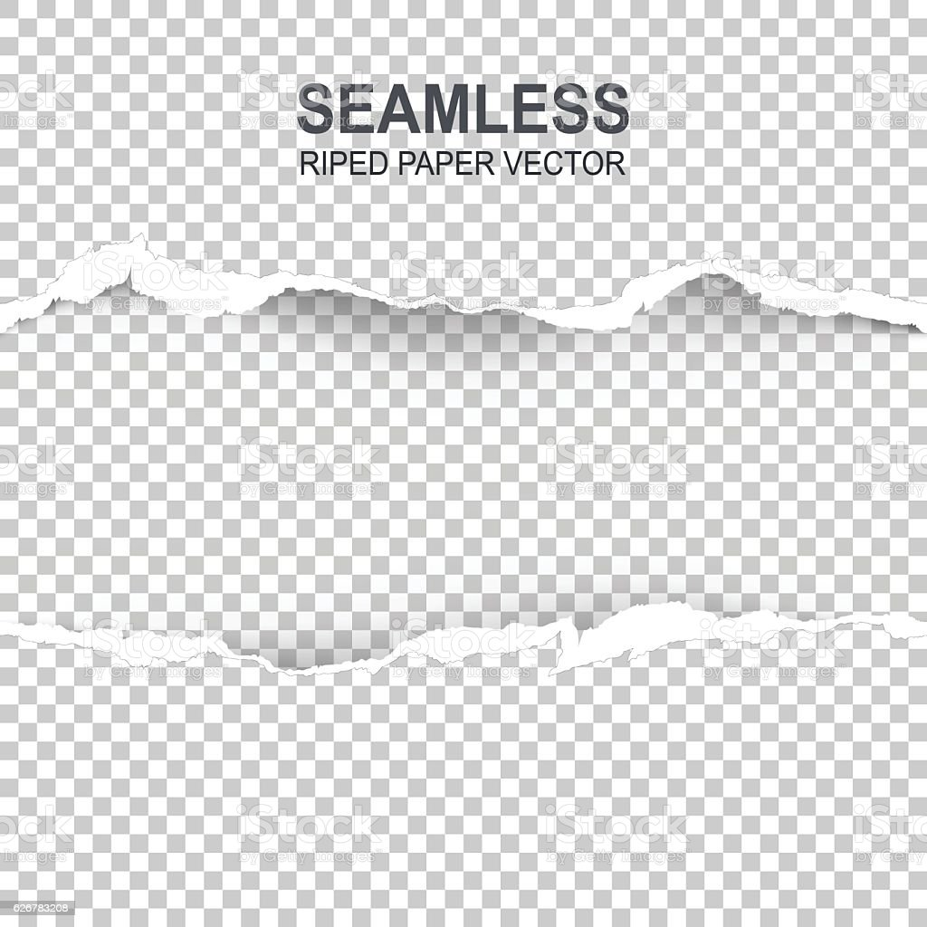 Seamless ripped paper and transparent background vector art illustration