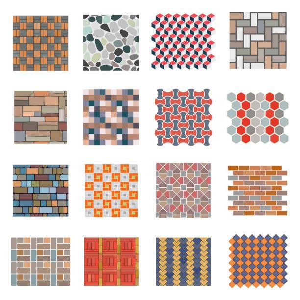 nahtlose straße stein fliesen-set - steinpfade stock-grafiken, -clipart, -cartoons und -symbole