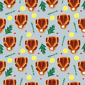 Seamless roasted chicken, duck or goose illustration pattern. Perfectly usable for all christmas and Thanksgiving related projects.