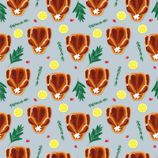 Seamless roasted dinner illustration pattern vector art illustration