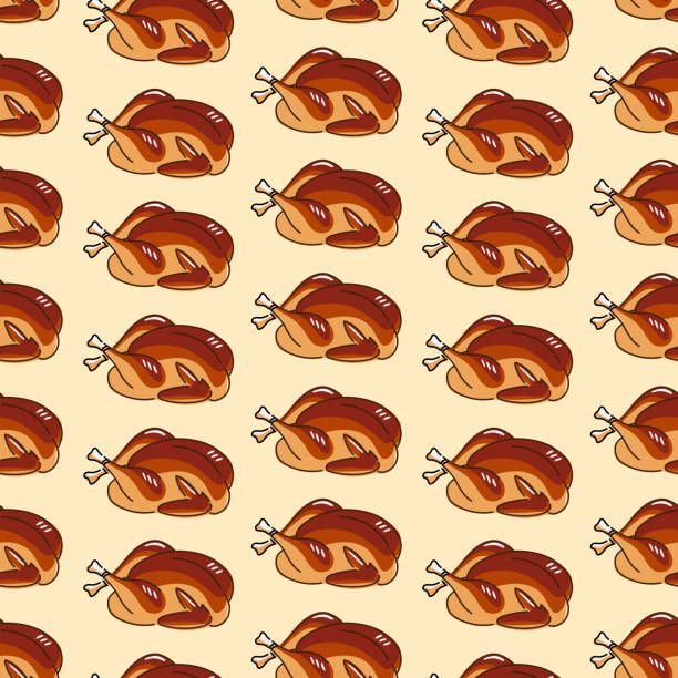 Seamless roasted turkey or chicken illustration pattern vector art illustration