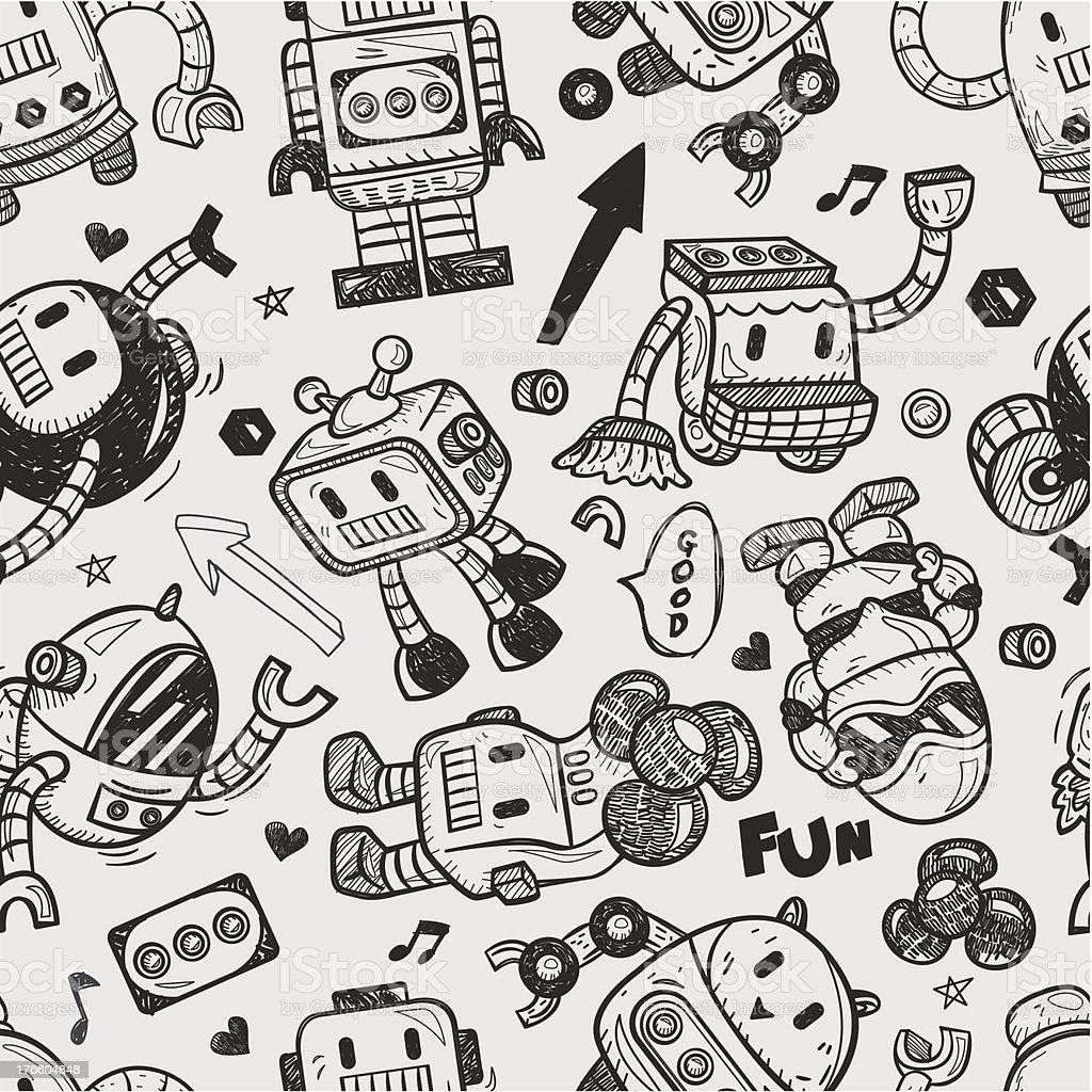Seamless Robot Pattern Illustrator Line Tools Drawing Stock