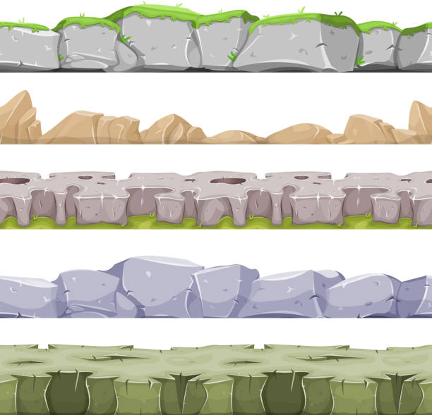 seamless rocky landscape and stony grounds for game ui - плато stock illustrations