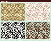 seamless Rococo floral damask patterns with a modern twist of color.