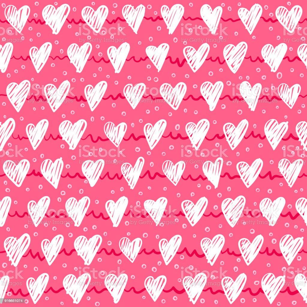 Sans Couture Modele Romantique Avec Main Dessin Coeurs Rouges