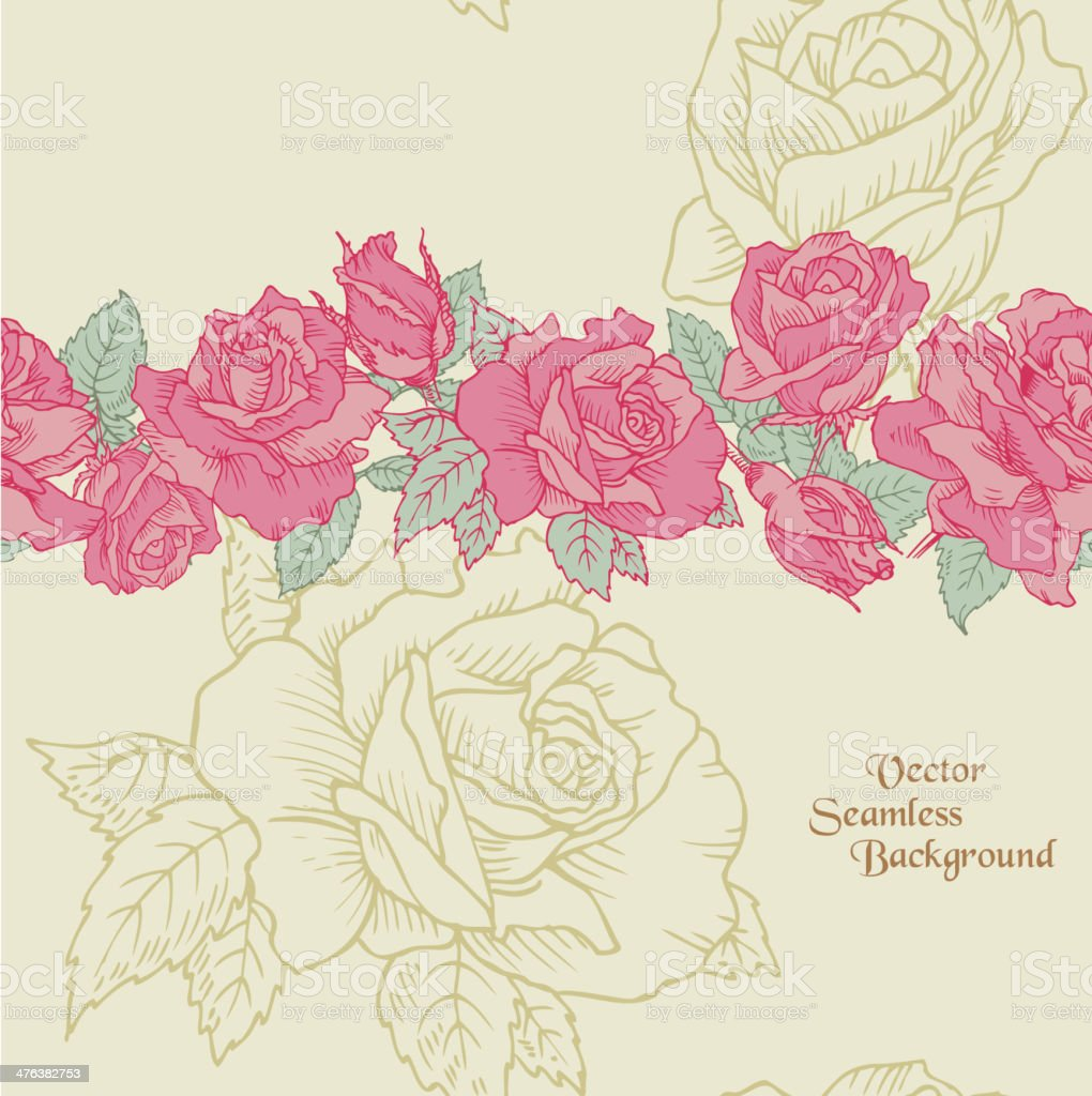 Seamless Rose Background royalty-free seamless rose background stock vector art & more images of backgrounds