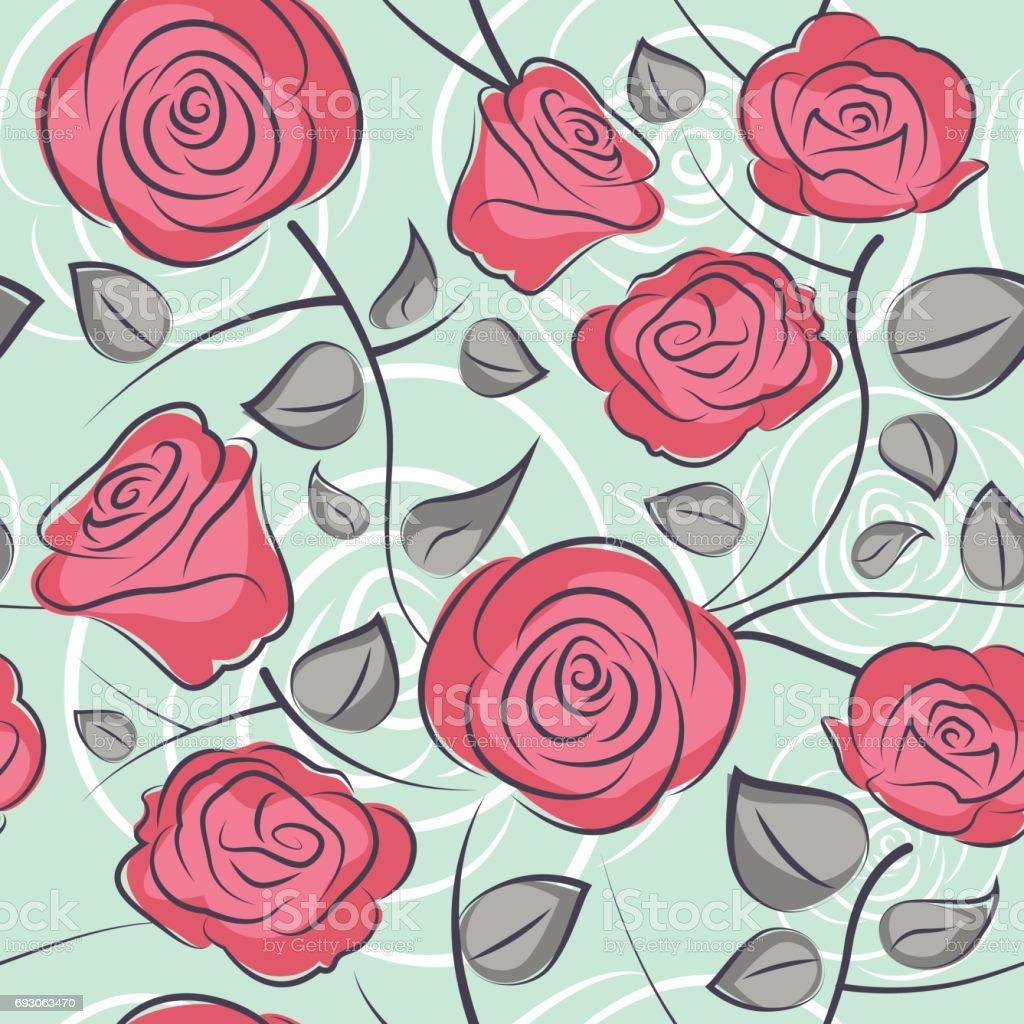 seamless roses pattern background vector art illustration