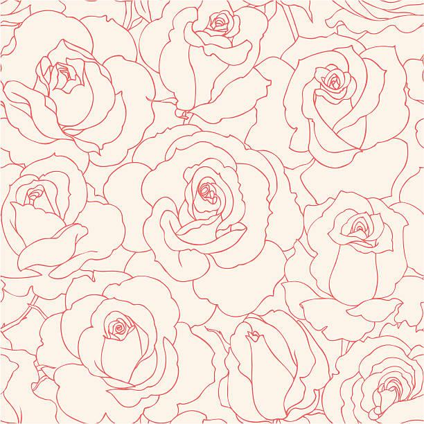 ilustraciones, imágenes clip art, dibujos animados e iconos de stock de sin costuras rosas - patrón floral