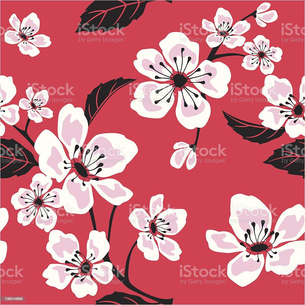 Seamless Sakura (Cherry) Blossom Pattern royalty-free seamless sakura blossom pattern stock vector art & more images of asia