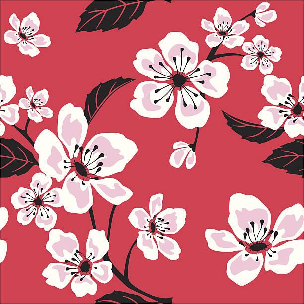 Seamless Sakura (Cherry) Blossom Pattern vector art illustration
