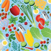 Vector Illustration of a seamless pattern with succulent ingredients over a blue background