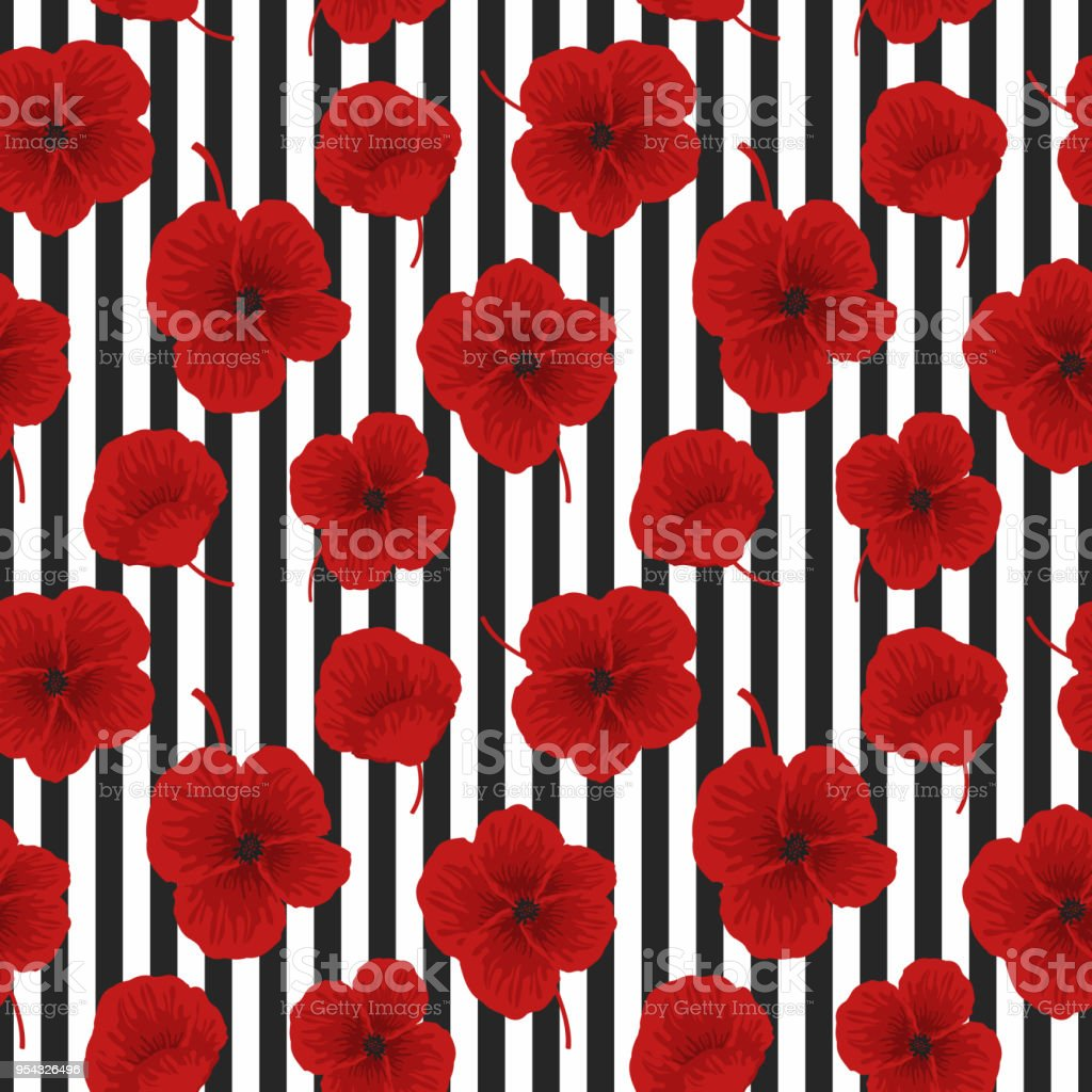 Seamless Sample With Red Flowers On A Black And White Background
