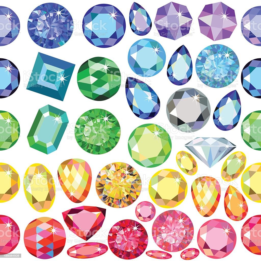 Seamless scattered borders of gems, rhinestones vector art illustration