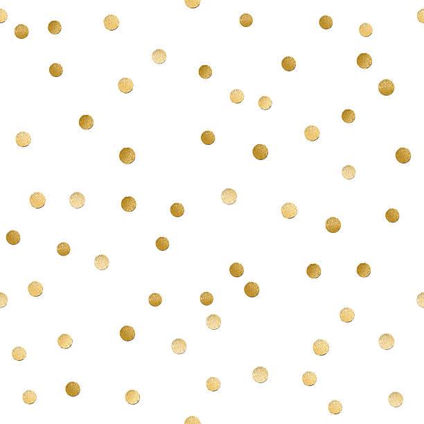 Espalhadas brilho dourado brilhante sem costura polka dot padrão - ilustração de arte em vetor