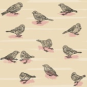 A scattered seamless pattern of adorable sparrows against a simple backdrop.