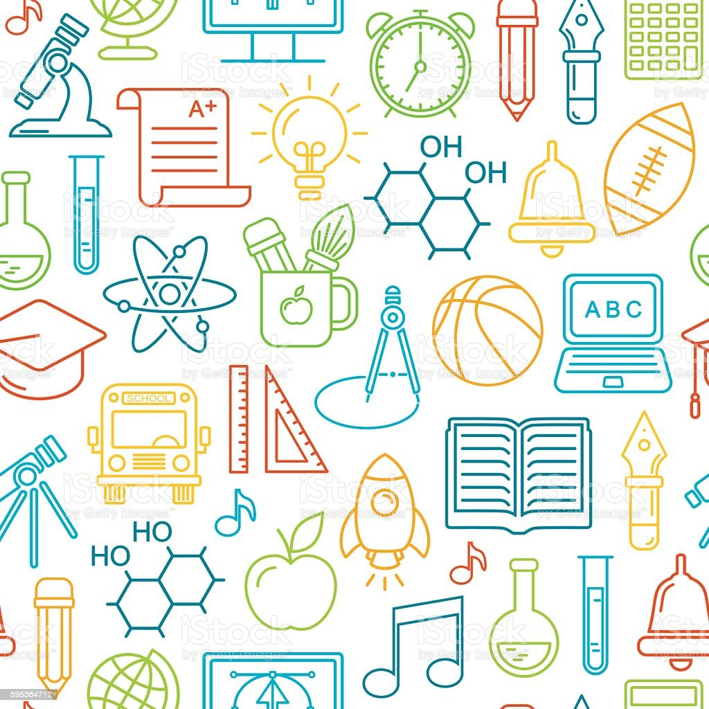 Seamless school and education background vector art illustration